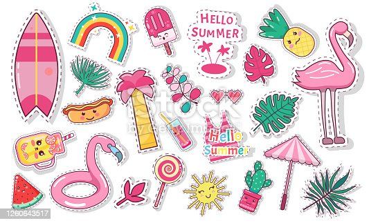 Set of cute summer icons: food, drinks, palm leaves, fruits, ice cream and flamingo. Bright summertime poster. Collection of scrapbooking elements for beach party slogan text phrase hello summer love
