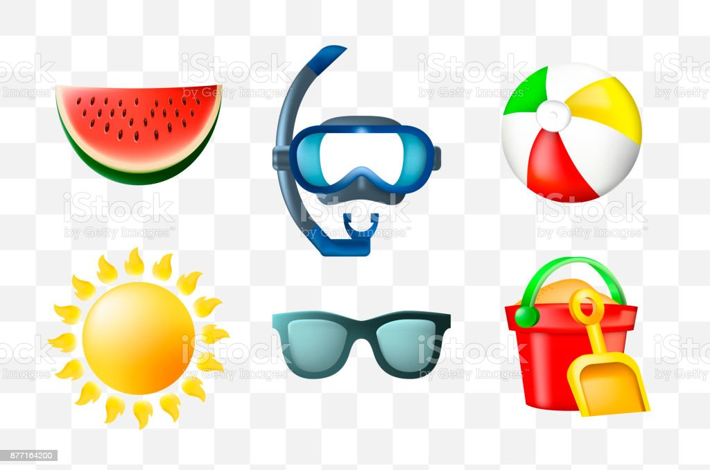 Set of Cute Summer Icons on Transparent Background vector art illustration