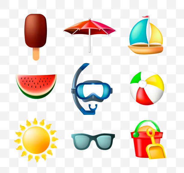 set of cute summer icons on transparent background - summer background stock illustrations