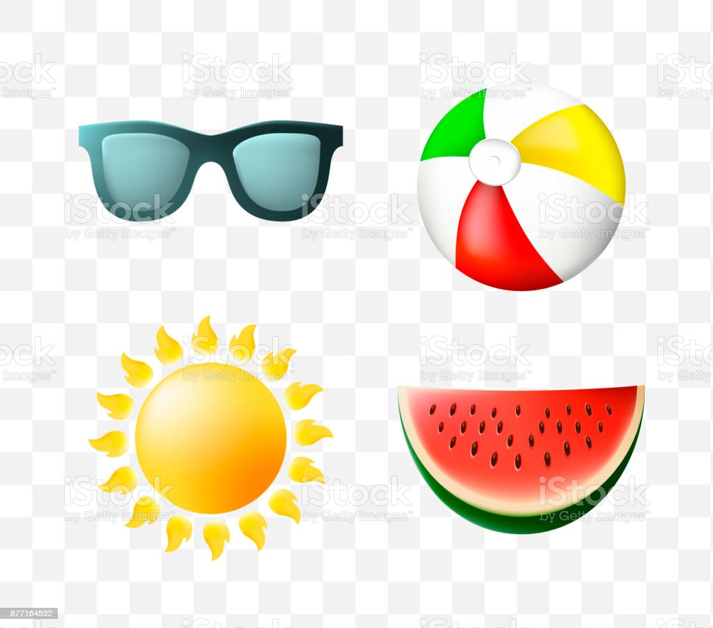 set of cute summer icons on transparent background stock illustration download image now istock set of cute summer icons on transparent background stock illustration download image now istock