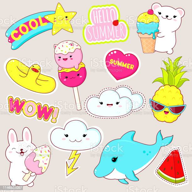 Set of cute summer stickers in kawaii style vector id1146522057?b=1&k=6&m=1146522057&s=612x612&h=31uaxte p3hu0uzj4ujkyq495mm6suovp qxbpahy8g=