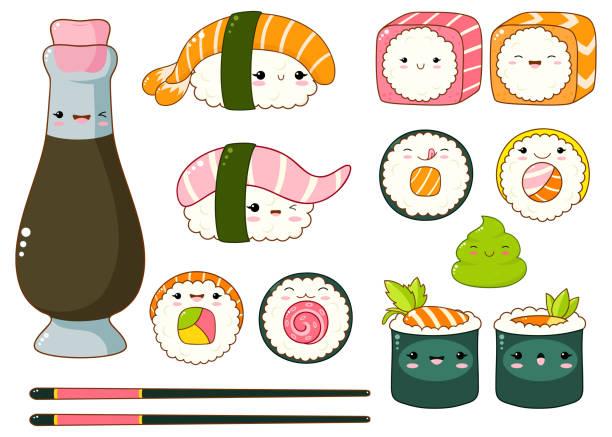 illustrations, cliparts, dessins animés et icônes de ensemble d'icônes de sushi et rouleaux cute kawaii style - sushi