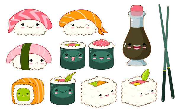 Ensemble d'icônes de sushi et rouleaux cute kawaii style - Illustration vectorielle