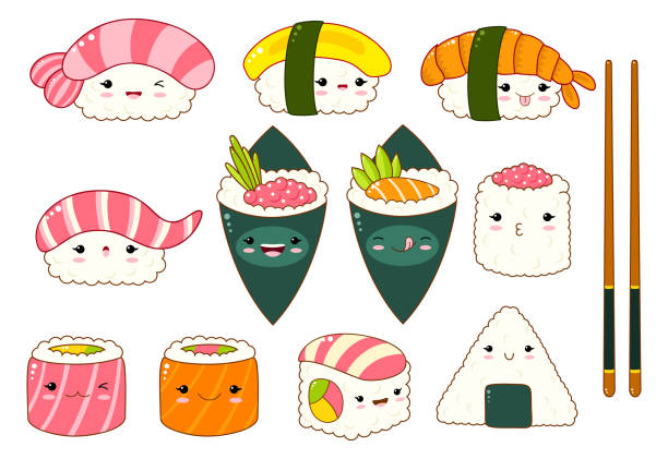 set of cute sushi and rolls icons in kawaii style - sushi stock illustrations