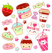 Set of cute sweet icons in kawaii style with smiling face and pink cheeks for sweet design. Sticker with inscription I love sweets. Donuts, candy, cap with cofe, soda, cupcake, strawberry. EPS8