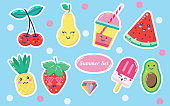 Set of cute sweet icons in kawaii style with smiling face and pink cheeks for sweet design. Sticker with cherry, pear, drink, juice, watermelon, pineapple, strawberry, ice cream, avocado, summer