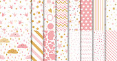 Set of cute sweet pink seamless patterns Wallpaper for little baby girl Pink dotted background collection Vector illustration Hand drawn wrap wallpaper cover fabric cloth textile naive pajamas design.