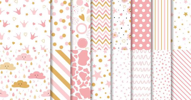 stockillustraties, clipart, cartoons en iconen met set van schattige zoete roze naadloze patronen wallpaper voor kleine baby meisje roze achtergrondcollectie - schattig