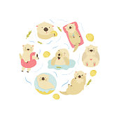 Set of cute swimming otters. For Baby Print design, apparel, greeting cards