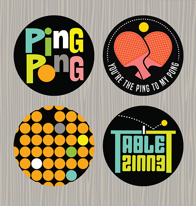 Set of cute table tennis themed designs for stickers, web design elements, promotional materials.