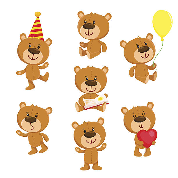 Set of cute teddy bear character standing, sitting, reading Set of cute teddy bear character standing, sitting, reading, cartoon vector illustration isolated on white background. Teddy bear character with balloon, red heart, book, standing, sitting, reading stuffed stock illustrations