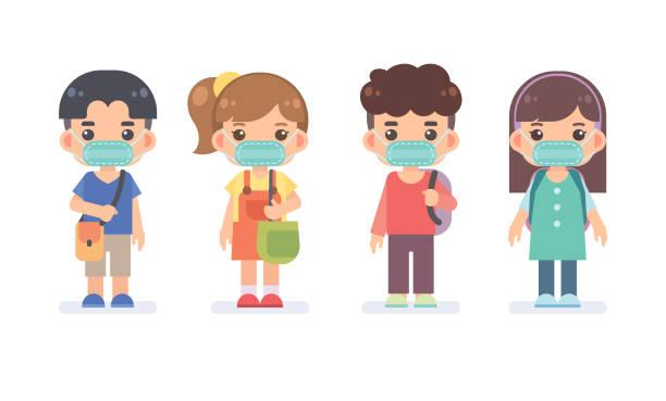 illustrations, cliparts, dessins animés et icônes de ensemble de garçons et de filles adolescentes mignons portent le masque protecteur pour se protéger contre les maladies, la grippe et la pollution de l'air. protégez-vous du concept de coronavirus covid-19. illustration de conception plate de vecteur. - enfant masque