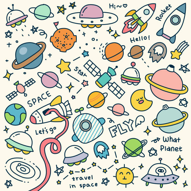 set of cute travel in space doodle - астрономия stock illustrations