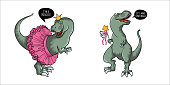 Cute little hand drawn t-rex characters