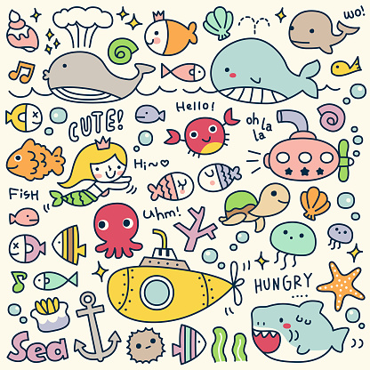 Set of Cute Under the Sea Doodle