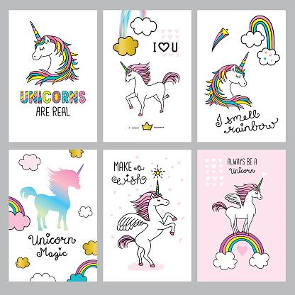 Set of cute unicorn quotes