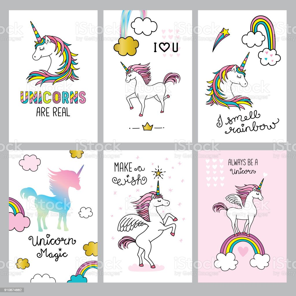 Set of cute unicorn quotes vector art illustration