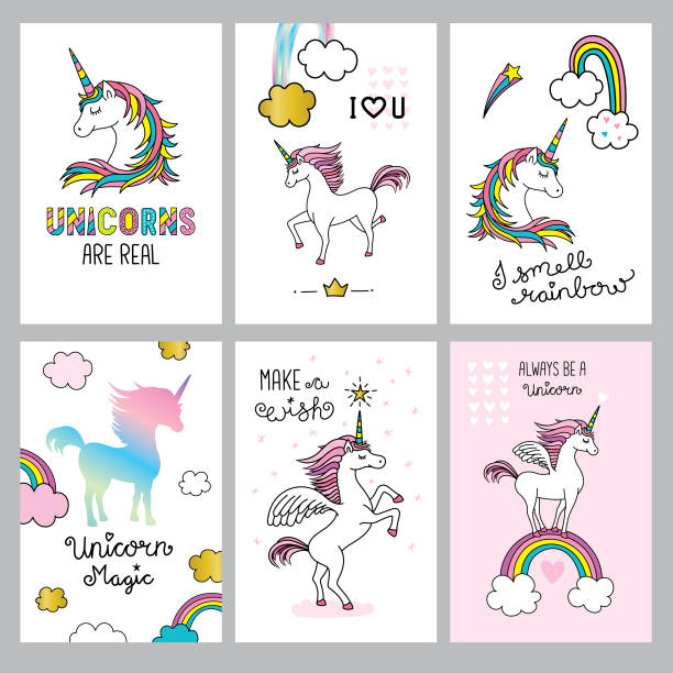 Set of cute unicorn quotes Editable set of vector illustrations on layers. unicorn stock illustrations