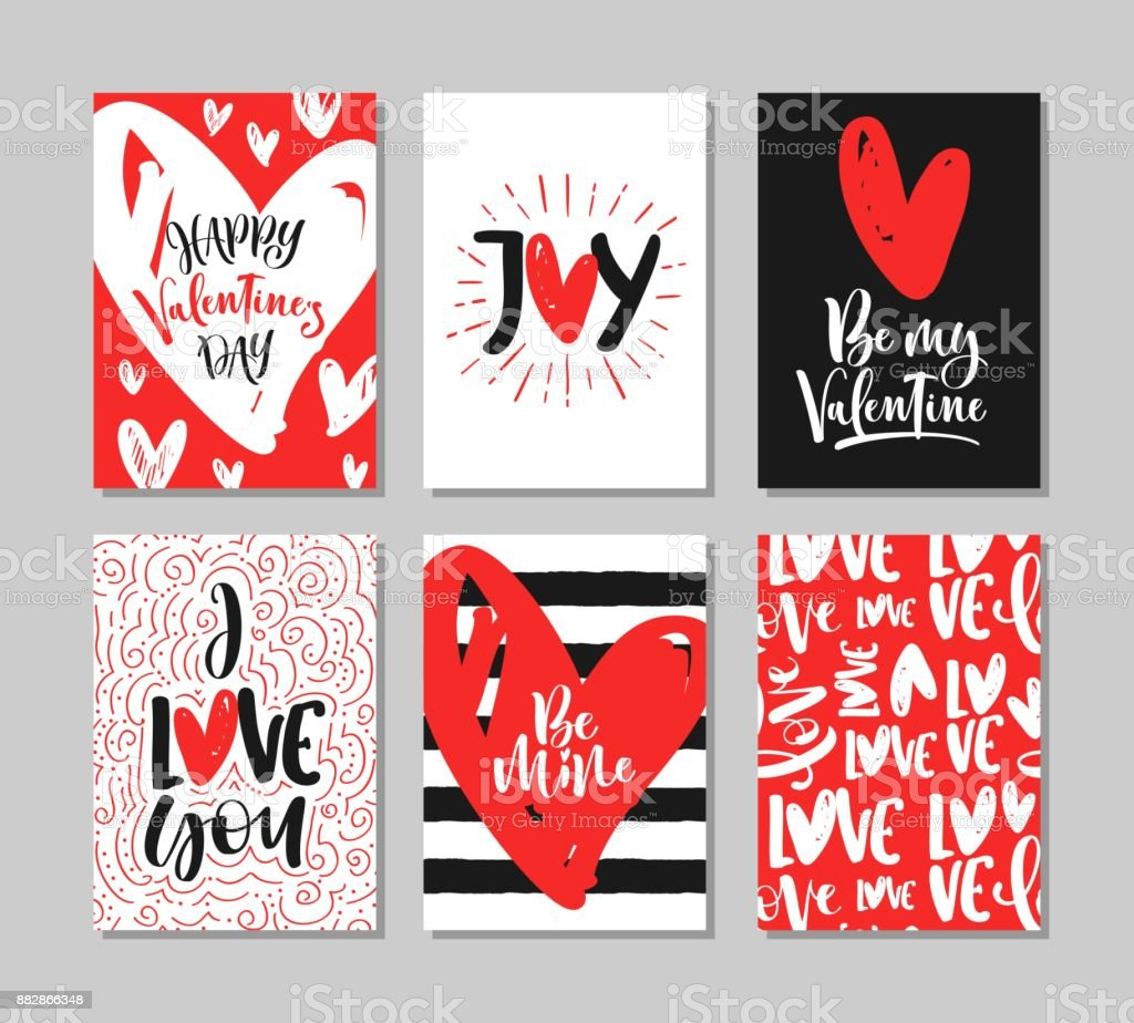 Set of cute Valentine's Day greeting cards with handwritten brush calligraphy and decorative elements. vector art illustration