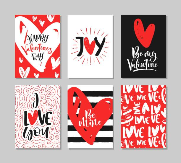 set of cute valentine's day greeting cards with handwritten brush calligraphy and decorative elements. - valentine card stock illustrations