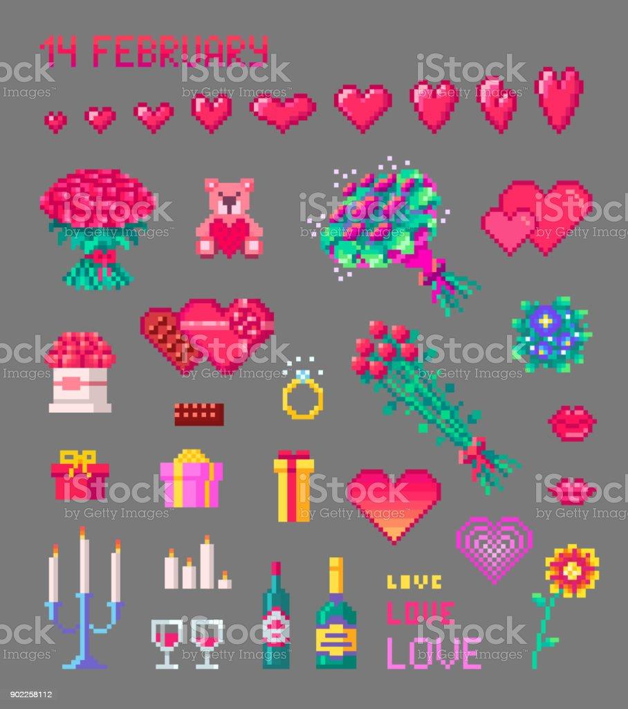 Ensemble De Mignon Valentines Pixel Art Icônes Vecteurs