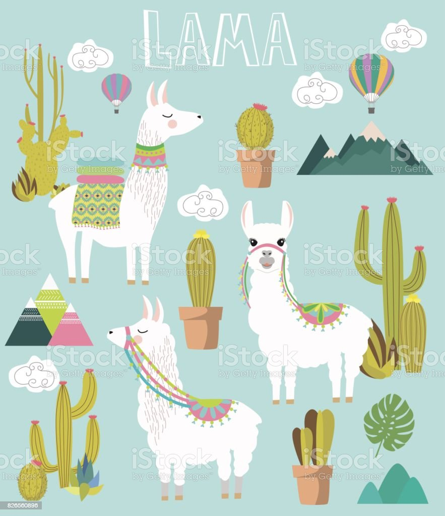Set of Cute vector alpaca and cactus elements vector art illustration