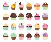 Cute vector cupcakes and muffins in different colors and flavors.