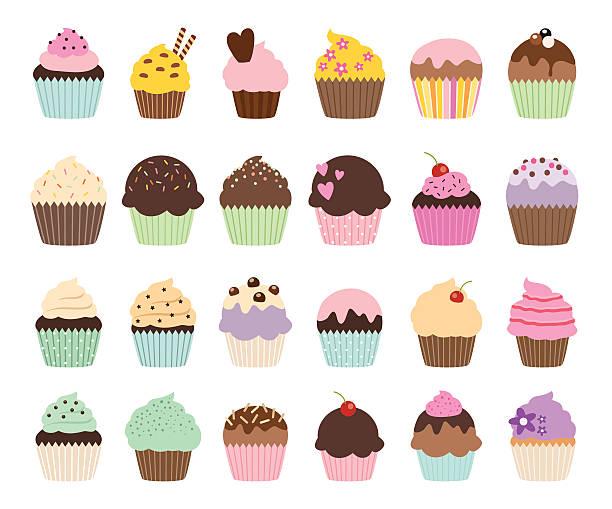 ilustraciones, imágenes clip art, dibujos animados e iconos de stock de vector conjunto de cupcakes y bollos monada - magdalena dulces