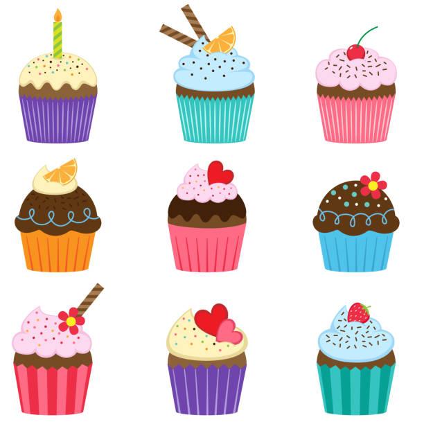 ilustrações de stock, clip art, desenhos animados e ícones de set of cute vector cupcakes - bolinho