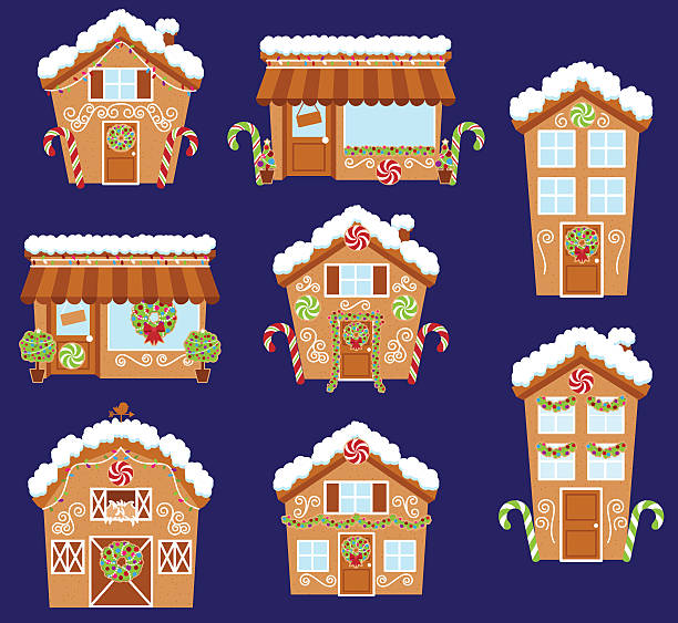 set of cute vector holiday gingerbread houses, shops - lebkuchenhaus stock-grafiken, -clipart, -cartoons und -symbole