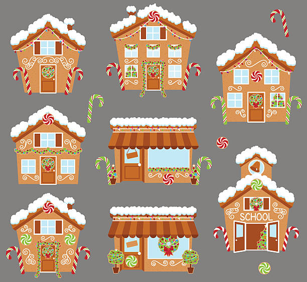 stockillustraties, clipart, cartoons en iconen met set of cute vector holiday gingerbread houses, shops - speculaas