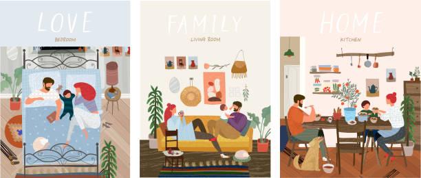 mutfakta yemek yeme, yatak odasında uyku, oturma odasında kanepede dinlenmek evde günlük yaşamda insanların sevimli vektör çizimler, mutlu aile seti - family home stock illustrations