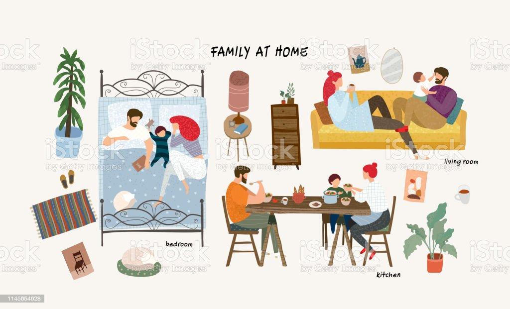 Set von niedlichen Vektorabbildungen von Menschen im Alltag, glückliche Familie zu Hause ruht im Wohnzimmer auf dem Sofa, schlafen im Schlafzimmer, Essen in der Küche, isolierte Objekte von Möbeln - Lizenzfrei Baby Vektorgrafik
