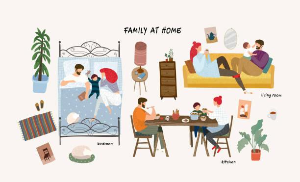 bildbanksillustrationer, clip art samt tecknat material och ikoner med uppsättning av söta vektor illustrationer av människor i vardagen, lycklig familj hemma vilar i vardags rummet på soffan, sova i sovrummet, äta i köket, isolerade föremål av möbler - baby sleeping