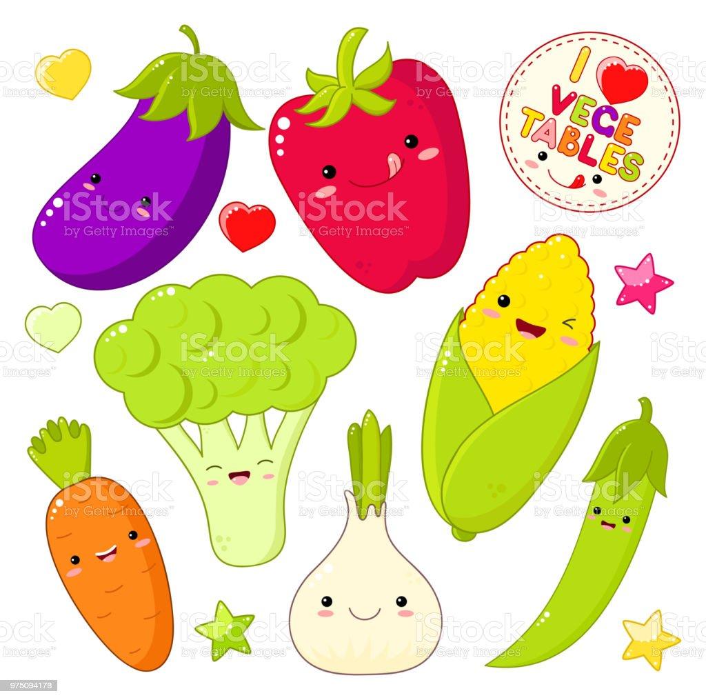 かわいいスタイルのかわいい野菜アイコンのセット - いたずらのベクター