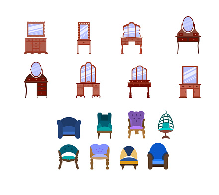 set of cute vintage dressing tables, armchairs. Collection of antique bedroom furniture.convenient place to store cosmetics and jewelry. Vector icons in a flat style are isolated on a white background