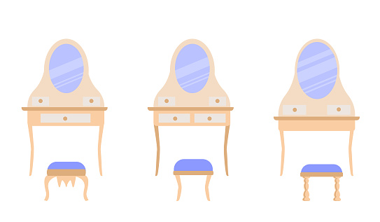 set of  cute vintage dressing tables with elegant stools. Collection of antique bedroom furniture.  Vector icons in a flat style are isolated on a white background.