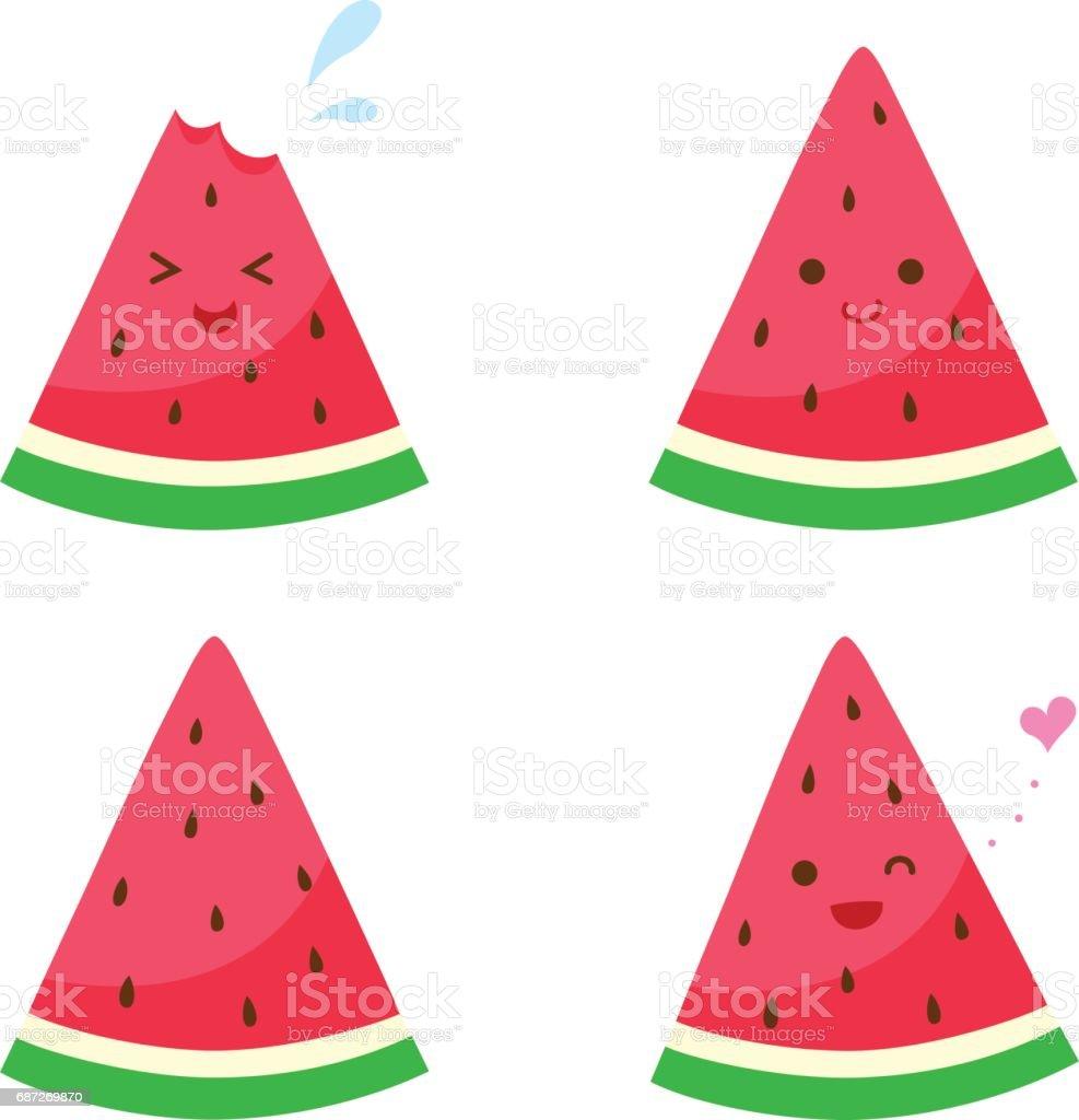 Set of cute watermelon characters - illustrazione arte vettoriale