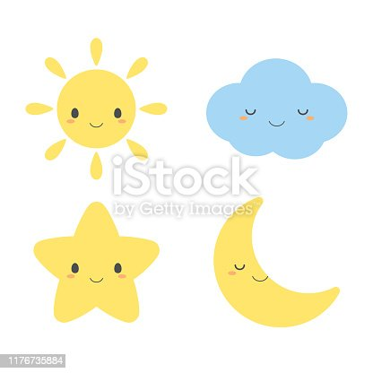 Set of cute weather element icons, including sun, cloud, star and moon.