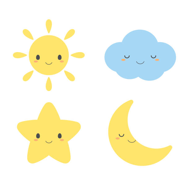 Set of cute weather element icons Set of cute weather element icons, including sun, cloud, star and moon. cute stock illustrations