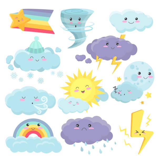 stockillustraties, clipart, cartoons en iconen met set van schattige weerpictogrammen met verschillende emoties expressie. vector weer cartoon vidgets stickers set. - regen zon