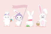 Set of cute white bunny hand drawn style for easter card banner.