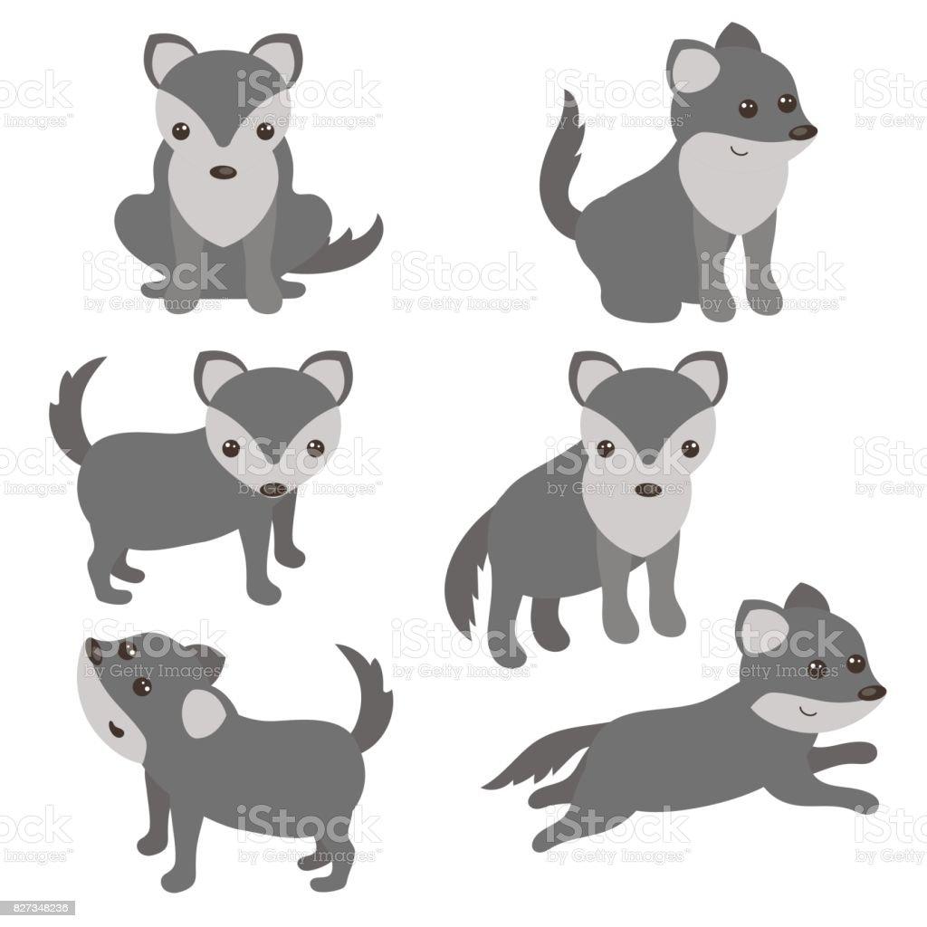 Ilustração De Conjunto De Lobos Bonitos E Mais Banco De Imagens De