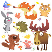 Set of cute woodland animals isolated on white background. Cartoon bird, hedgehog, beaver, bunny rabbit, chipmunk, fox, mouse and moose elk. Vector illustration