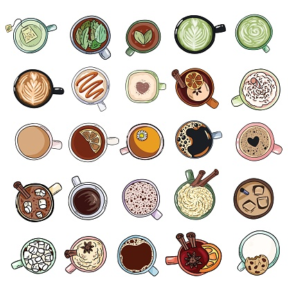 Set of cute yummy beverages. Cups of tea and coffee doodles. Hand drawn cartoon style collection of doodles