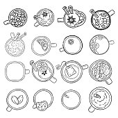 Set of cute yummy beverages doodle sketches. Cups of tea and coffee doodles. Hand drawn cartoon style collection of mugs