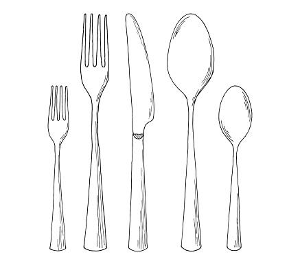 Set of cutlery. Sketch. Vector illustration