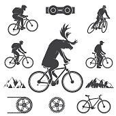 Set of cycling Mountain Bike Icons. Set include deer rides a bike, mens on the Mountain bikings and bicycle gear. Vector illustration. Extreme mtb sport icon.