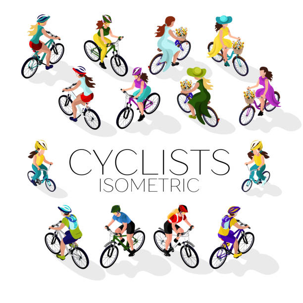 Set of cyclists. A woman on a bicycle, a man on a bicycle, a child on a bicycle. Isometric 3d vector art illustration
