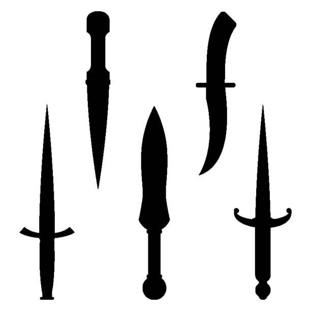 ilustraciones, imágenes clip art, dibujos animados e iconos de stock de conjunto de siluetas de dagas cuchillos negro con bordes muy afilados - vaina